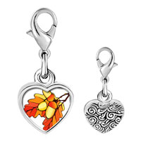 Link Charm Bracelet - 925  sterling silver autumn fall acorn leaves photo heart frame link charm Image.