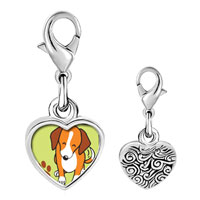 Link Charm Bracelet - 925  sterling silver beagle dog photo heart frame link charm Image.