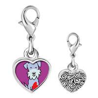 Link Charm Bracelet - 925  sterling silver schnauzer dog photo heart frame link charm Image.