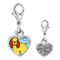 Link Charm Bracelet - 925  sterling silver cocker spaniel dog yellow photo heart frame link charm Image.