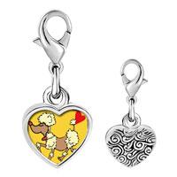 Link Charm Bracelet - 925  sterling silver toy poodle dog photo heart frame link charm Image.