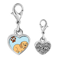 Link Charm Bracelet - 925  sterling silver yellow labrador dog photo heart frame link charm Image.