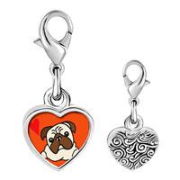 Link Charm Bracelet - 925  sterling silver pug dog photo heart frame link charm Image.