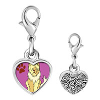 Link Charm Bracelet - 925  sterling silver sheepdog animal photo heart frame link charm Image.