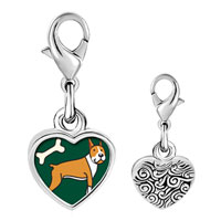 Link Charm Bracelet - 925  sterling silver boxer dog and bone photo heart frame link charm Image.