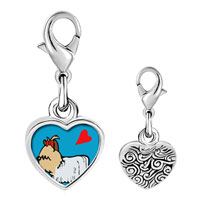 Link Charm Bracelet - 925  sterling silver yorkshire terrier dog white photo heart frame link charm Image.