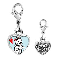 Link Charm Bracelet - 925  sterling silver maltese dog white photo heart frame link charm Image.
