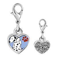 Link Charm Bracelet - 925  sterling silver grin dalmatian dog photo heart frame link charm Image.