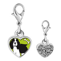Link Charm Bracelet - 925  sterling silver springer spaniel dog photo heart frame link charm Image.