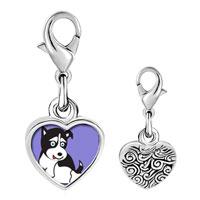 Link Charm Bracelet - 925  sterling silver alaskan husky dog photo heart frame link charm Image.