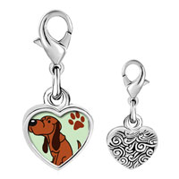 Link Charm Bracelet - 925  sterling silver blood hound dog photo heart frame link charm Image.