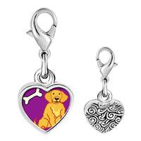 Link Charm Bracelet - 925  sterling silver golden retriever dog photo heart frame link charm Image.
