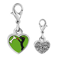 Link Charm Bracelet - 925  sterling silver doberman dog photo heart frame link charm Image.