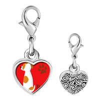 Link Charm Bracelet - 925  sterling silver jack russell terrier dog photo heart frame link charm Image.