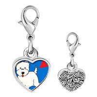 Link Charm Bracelet - 925  sterling silver westie dog photo heart frame link charm Image.