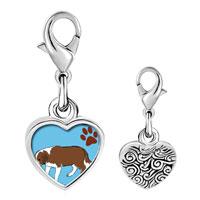Link Charm Bracelet - 925  sterling silver saint bernard dog photo heart frame link charm Image.