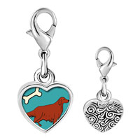 Link Charm Bracelet - 925  sterling silver irish setter dog photo heart frame link charm Image.