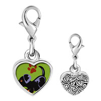 Link Charm Bracelet - 925  sterling silver rottweiler black photo heart frame link charm Image.