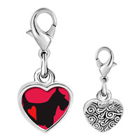 Link Charm Bracelet - 925  sterling silver scottie dog photo heart frame link charm Image.