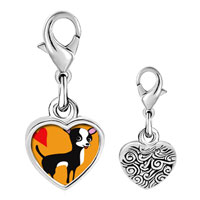 Link Charm Bracelet - 925  sterling silver chihuahua dog photo heart frame link charm Image.