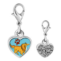 Link Charm Bracelet - 925  sterling silver collie dog brown photo heart frame link charm Image.