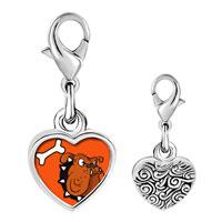Link Charm Bracelet - 925  sterling silver dogphoto heart frame link charm Image.