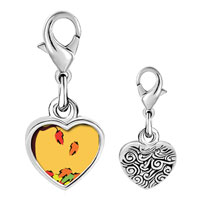 Link Charm Bracelet - 925  sterling silver fallen autumn leaves photo heart frame link charm Image.