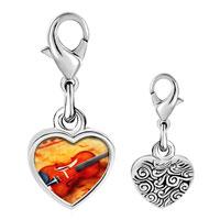 Link Charm Bracelet - 925  sterling silver violin music photo heart frame link charm Image.