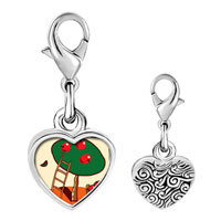 Link Charm Bracelet - 925  sterling silver apples on tree photo heart frame link charm Image.