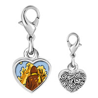 Link Charm Bracelet - 925  sterling silver fall autumn weather photo heart frame link charm Image.