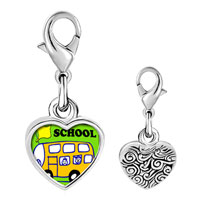Link Charm Bracelet - 925  sterling silver fun school bus photo heart frame link charm Image.