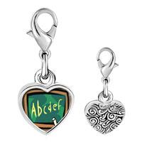 Link Charm Bracelet - 925  sterling silver alphabet chalkboard photo heart frame link charm Image.