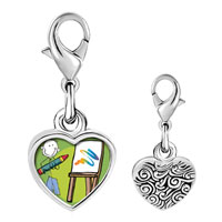 Link Charm Bracelet - 925  sterling silver drawing and painting photo heart frame link charm Image.