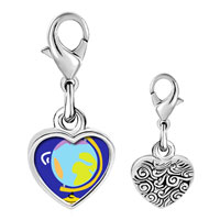 Link Charm Bracelet - 925  sterling silver globe map photo heart frame link charm Image.