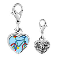 Link Charm Bracelet - 925  sterling silver bicycle photo heart frame link charm Image.