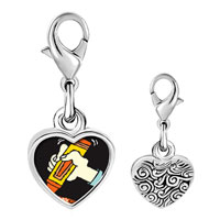 Link Charm Bracelet - 925  sterling silver marker drawing photo heart frame link charm Image.