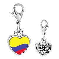 Link Charm Bracelet - 925  sterling silver colombia flag photo heart frame link charm Image.