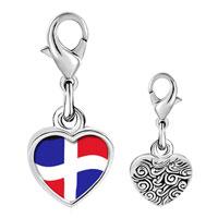 Link Charm Bracelet - 925  sterling silver dominica flag photo heart frame link charm Image.