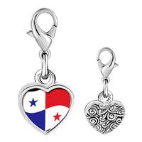 Link Charm Bracelet - 925  sterling silver panama flag photo heart frame link charm Image.