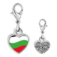 Link Charm Bracelet - 925  sterling silver bulgaria flag photo heart frame link charm Image.