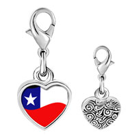 Link Charm Bracelet - 925  sterling silver chile flag photo heart frame link charm Image.