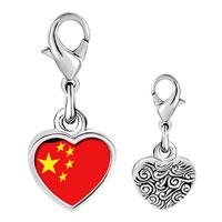 Link Charm Bracelet - 925  sterling silver china flag photo heart frame link charm Image.