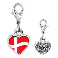 Link Charm Bracelet - 925  sterling silver denmark flag photo heart frame link charm Image.