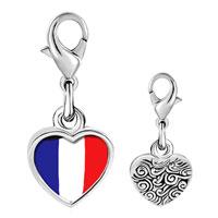 Link Charm Bracelet - 925  sterling silver france flag photo heart frame link charm Image.