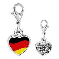 Link Charm Bracelet - 925  sterling silver germany flagphoto heart frame link charm Image.