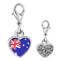 Link Charm Bracelet - 925  sterling silver australia flag photo heart frame link charm Image.