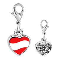 Link Charm Bracelet - 925  sterling silver austria flag photo heart frame link charm Image.