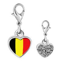 Link Charm Bracelet - 925  sterling silver belgium flag photo heart frame link charm Image.