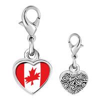 Link Charm Bracelet - 925  sterling silver canada flag photo heart frame link charm Image.
