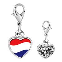 Link Charm Bracelet - 925  sterling silver netherlands flag photo heart frame link charm Image.